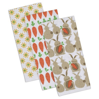Spring Garden Printed Dishtowel Yellow (Set of 3) - Design Imports