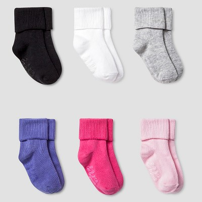 Girls' 6pk Solid Bobbie Sock with Gripper Cat & Jack™ - Multicolor 2T/3T