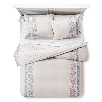 Emma Reversible Duvet Cover and Sham Set (Full/Queen) Purple 3-Piece - Beekman 1802 FarmHouse™