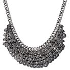 "Women's Natasha Accessories Imitation Silver Layered Shaky Necklace - Silver (8"")"