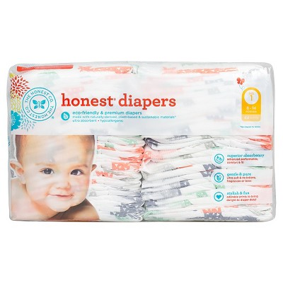 Honest Company  Diapers Multi Colored Giraffes - Size 1  (44 Count)