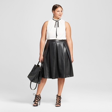s plus size faux leather birdcage skirt who what