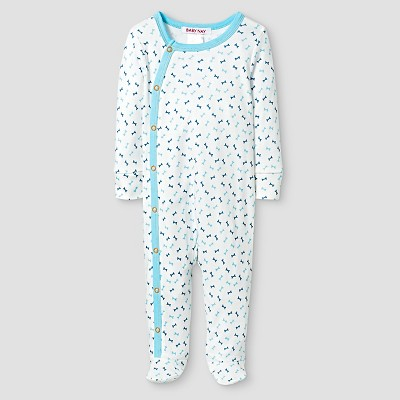 Baby Nay® Baby Boys' Bones Kimono Footed Sleeper - White 3M