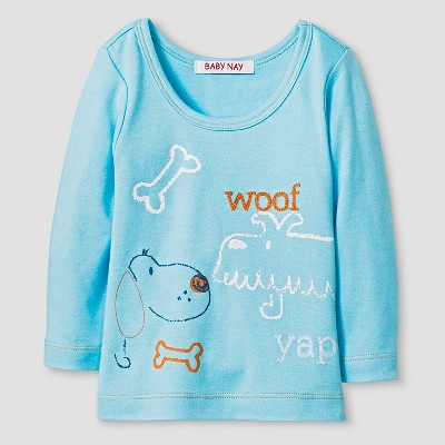 Baby Nay® Baby Boys' Woof Friends Long Sleeve Shirt - Blue 3M