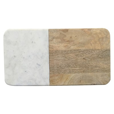 Rectangle Chopping Board Wood/Marble - Threshold™