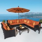 RST Brands Deco 9 Piece Woven Sectional and Club Chair Set With Umbrella