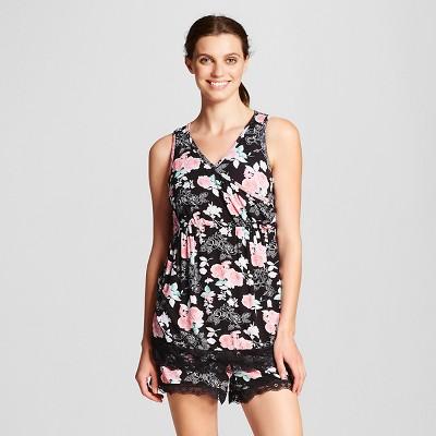 Lamaze Women's Nursing Surplice Pajamas - Black Floral L