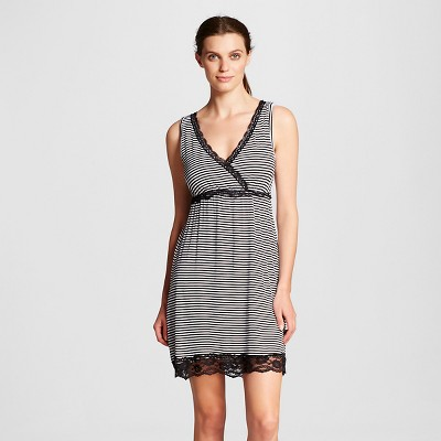 Lamaze Women's Nursing Surplice Chemise Pajamas - Black Stripe L