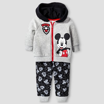 Baby Boys' Disney® Mickey Mouse Hoodie & Pant Set - Grey