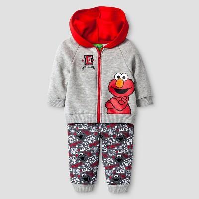 Baby Boys' Sesame Street® Elmo Hoodie & Pant Set - Red 0-3M