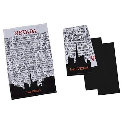 Las Vegas Printed Dishtowel Black (Set of 4) - Design Imports