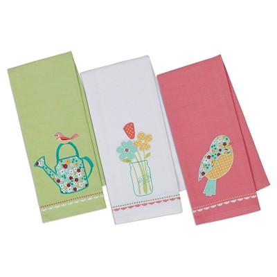 Flower Garden Dishtowel Blue (Set of 3) - Design Imports