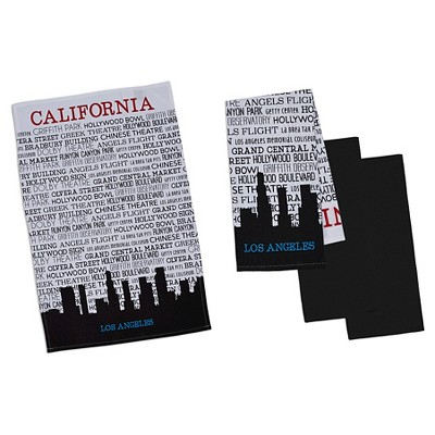 Los Angeles Printed Dishtowel Black (Set of 4) - Design Imports