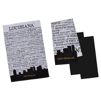 New Orleans Printed Dishtowel Black (Set of 4) - Design Imports