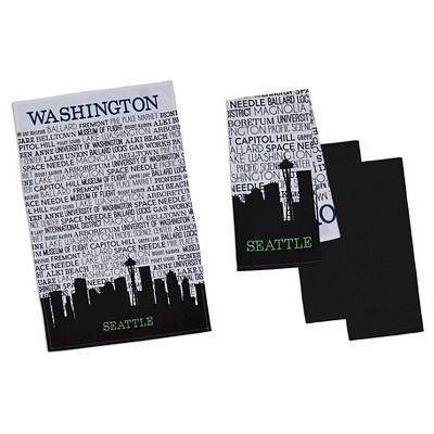 Seattle Cityscape Dishtowel Black (Set of 4) - Design Imports