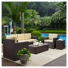 Crosley Palm Harbor 5-Piece Outdoor Wicker Sofa Conversation Set - Sofa, Two Arm Chairs, Side Table And Glass Top Table