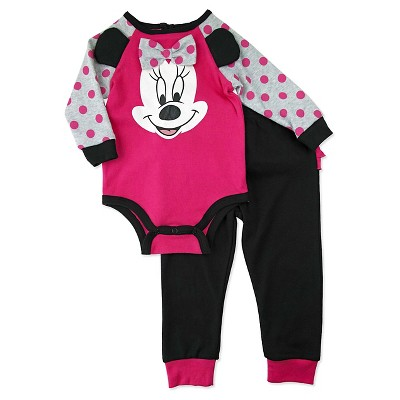 Baby Girls' Disney® Minnie Mouse Top & Bottom Set - Pink 0-3M