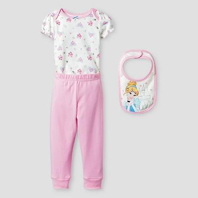 Baby Girls' Disney® Cinderella Bodysuit, Bib & Pant Set - Pink 0-3M