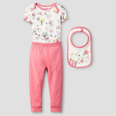 Baby Girls' Disney® Winnie the Pooh Bodysuit, Bib & Pant Set - Orange 6-9M