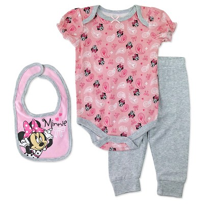 Baby Girls' Disney® Minnie Mouse Bodysuit, Bib & Pant Set - Pink 0-3M