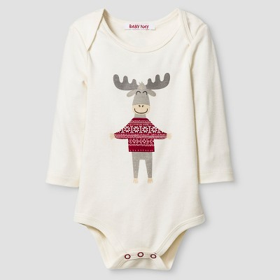 Baby Nay® Moose Friends Bodysuit - Cream 9M