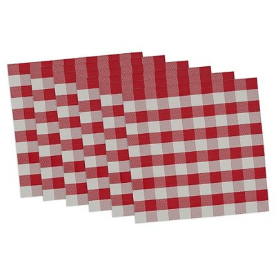 Checkers Placemat Red(Set of 6) - Design Imports