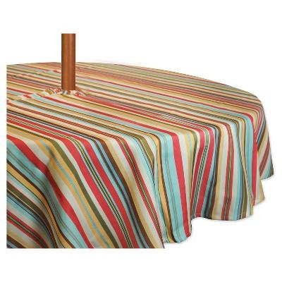 """Stripe Umbrella Tablecloth Green (60"""" Round) - Design Imports"""