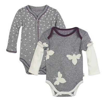 Burt's Bees Baby™ 2 Pack Bodysuits - Grey 3-6M