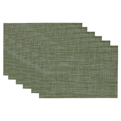Tonal Tweed Placemat Green (Set of 6) - Design Imports