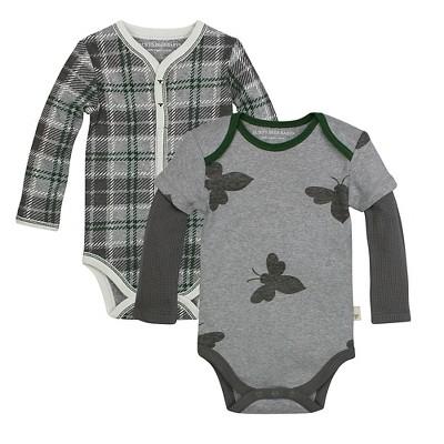 Burt's Bees Baby™ 2 Pack Bodysuits - Plaid/Bee 3-6M