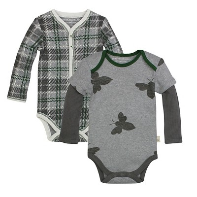 Burt's Bees Baby™ 2 Pack Bodysuits - Plaid/Bee 0-3M