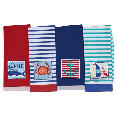 Nautical Summer Dishtowel Blue (Set of 4) - Design Imports