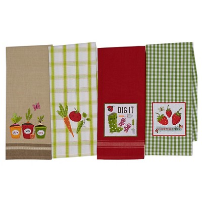 Pea Patch Dishtowel Red (Set of 4) - Design Imports