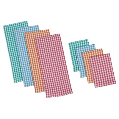 Summer Checks Heavyweight Dishtowel & Dishcloth Red (Set of 4) - Design Imports
