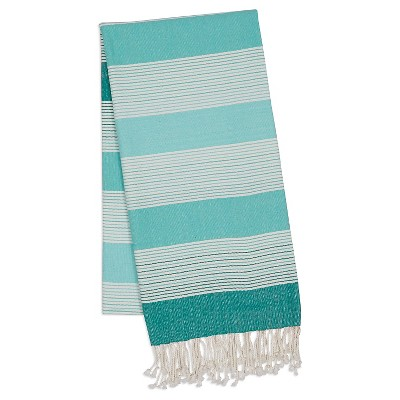 Large Stripe Fouta Towel Aqua - Design Imports