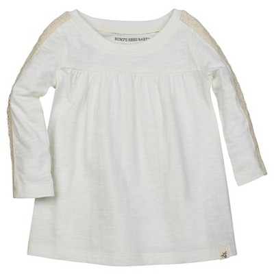 Burt's Bees Baby™ Girls' Crochet Sleeve Tee - Off White 0-3M