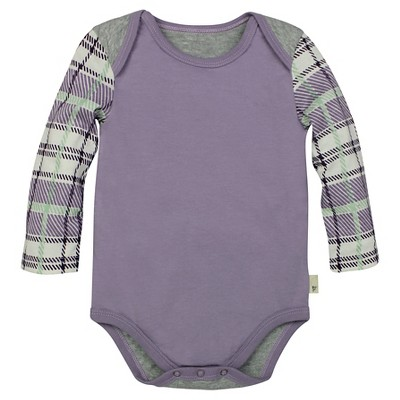 Burt's Bees Baby™ Girls' Plaid Sleeve Bodysuit - Lilac 0-3M