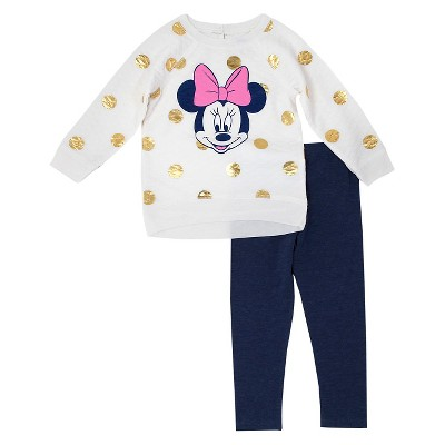 Baby Girls' Minnie Mouse Top And Bottom Set - Eggshell 12M