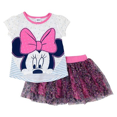 Baby Girls' Minnie Mouse Top And Bottom Set - Pink 12M