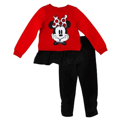 Baby Girls' Minnie Mouse Top And Bottom Set - Red 12M