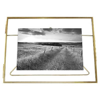 "Front-Opening 6""x8"" matted for 4""x6"" Brass Float Frame - Threshold™"