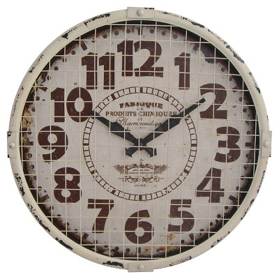 Infinity Instruments Rustic Caged Clock - White
