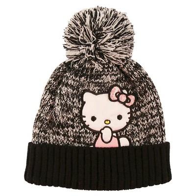 Girls' Hello Kitty Beanie - Black One Size