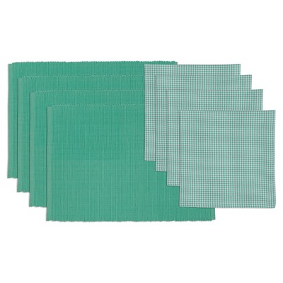 Spa Day Placemat and Check Napkin Set Blue - Design Imports