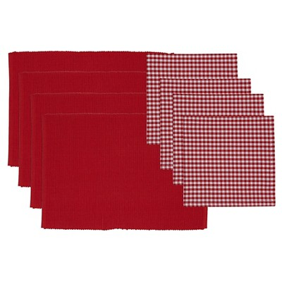 Placemat and Check Napkin Set Red - Design Imports