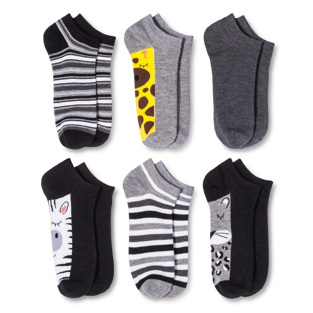 Women's Low-Cut Socks 6-Pack Zoo Animals Black One Size - Xhilaration