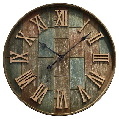 Infinity Instruments Colored Wood Clock - Blue/Brown