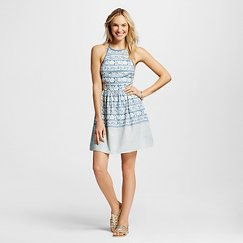 Women's Printed Chambray Halter Dress Blue - Hint of Mint (Juniors')