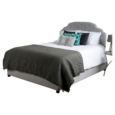 Allyson California King Button Tufted Bed - Light Grey - Christopher Knight Home