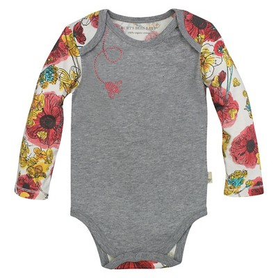 Burt's Bees Baby™ Girls' Poppy Bodysuit - Heather Grey 0-3M